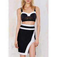 Sexy Sweetheart Neck Sleeveless Crop Top + High-Waisted High Slit Skirt Twinset For Women black white