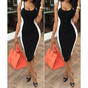 Sexy U-Neck Sleeveless Color Block Bodycon Dress For Women black white