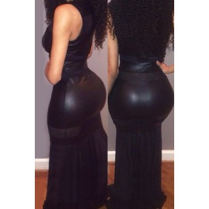 Sexy U-Neck Sleeveless Low Cut Spliced See-Through Dress For Women black