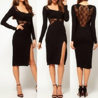 Sexy V-Neck Long Sleeve See-Through Furcal Dress For Women black