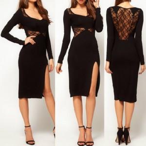 Sexy V-Neck Long Sleeve See-Through Furcal Dress For Women black