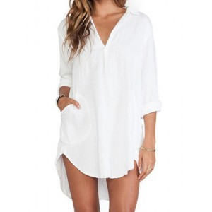Sexy V-Neck Long Sleeve Solid Color High-Low Hem Dress For Women white