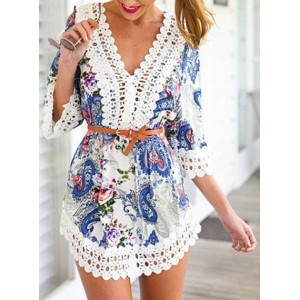 Sexy V-Neck Paisley Lace Embellished Dress For Women white