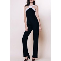 Sexy V-Neck Sleeveless Black and White Spliced Jumpsuit For Women black