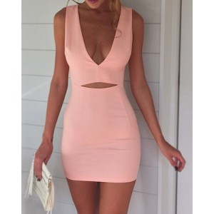 Sexy V-Neck Sleeveless Hollow Out Solid Color Dress For Women pink