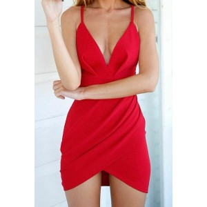 Sexy V-Neck Sleeveless Solid Color Asymmetrical Dress For Women red
