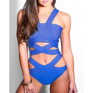 Sexy V-Neck Sleeveless Solid Color Cut Out Swimwear For Women black blue