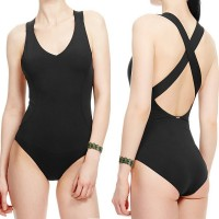 Sexy V-Neck Solid Color Criss-Cross One-Piece Swimwear For Women black