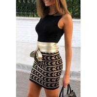 Sexy Women's Round Collar Printed Lace-Up Sleeveless Dress black