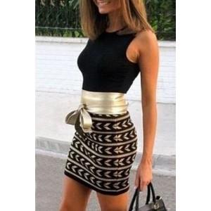 Sexy Women's Round Collar Printed Lace-Up Sleeveless Dress black