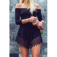 Sexy Women's Slash Neck Solid Color 3/4 Sleeve Romper black
