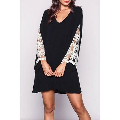 Simple Style V-Neck Crochet Spliced Bell Sleeve T-Shirt Dress For Women