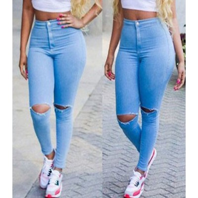 Solid Color Broken Hole Skinny Stylish Jeans For Women blue