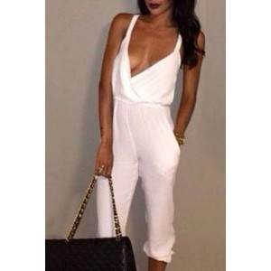 Solid Color Double-Pocket Sexy Plunging Neck Sleeveless Jumpsuit For Women white
