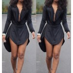 Solid Color High-Low Hem Fashionable Cowl Neck Long Sleeve Dress For Women black