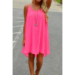 Solid Color Hollow Out Stylish Spaghetti Strap Chiffon Dress For Women NEON GREEN, RED, ROSE