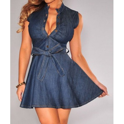 Solid Color Lace-Up Sexy Plunging Neck Sleeveless Denim Dress For Women blue