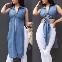 Solid Color Side Slit Stylish Turn-Down Collar Sleeveless Blouse For Women blue