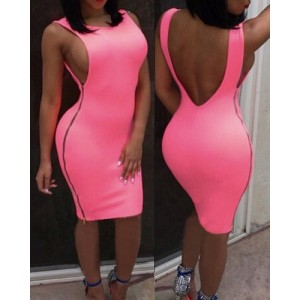 Solid Color Zipper Design Backless Sexy Scoop Neck Sleeveless Dress For Women  BLACK, BLUE, NEON GREEN, ROSE, WHITE, YELLOW