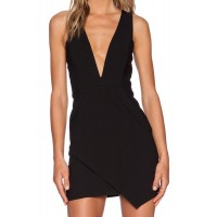 Solid Color Zippered Sexy Plunging Neck Sleeveless Bodycon Dress For Women black