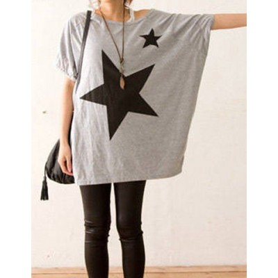 Star Print Trendy Scoop Neck Batwing Sleeve T-Shirt For Women gray white