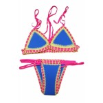 Strappy Halter Crochet Trimmed Blue Neoprene Swimsuit navy pink