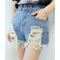 Street Style High-Waisted Frayed Denim Shorts For Women deep blue light blue