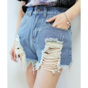 Street Style High-Waisted Frayed Denim Shorts For Women deep blue light blue