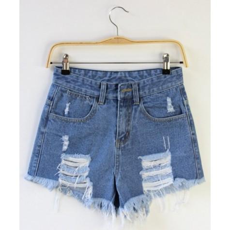 48076e3576 Street Style High-Waisted Frayed Denim Shorts For Women deep blue light blue