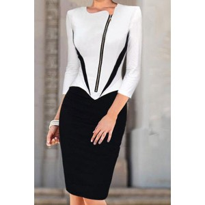 Style Round Neck Long Sleeve Spliced Slimming Pencil Dress For Women white black