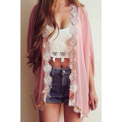 Stylish 3/4 Sleeve Laciness Chiffon Kimono Cardigan For Women pink