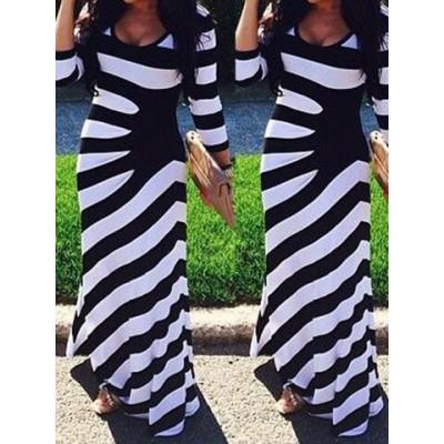Stylish 3/4 Sleeve Scoop Neck Striped Maxi Dress For Women black