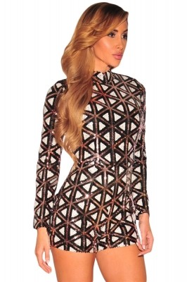 Stylish Aztec Sequins Long Sleeves Romper