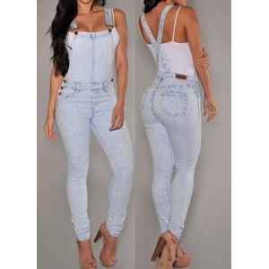 Stylish Bleach Wash Criss-Cross Denim Overalls For Women gray