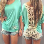 Stylish Dolman Sleeve Scoop Neck Backless Crochet T-Shirt For Women green