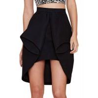 Stylish Elastic Waist Asymmetrical Solid Color Skirt For Women black
