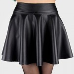 Stylish Elastic Waist Solid Color Faux Leather Skirt For Women black