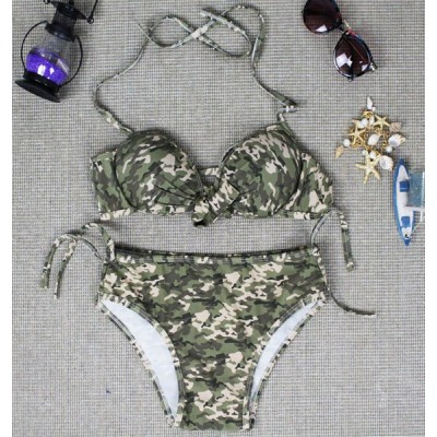 Stylish Halter Lace-Up Camouflage Print Bikini Set For Women green