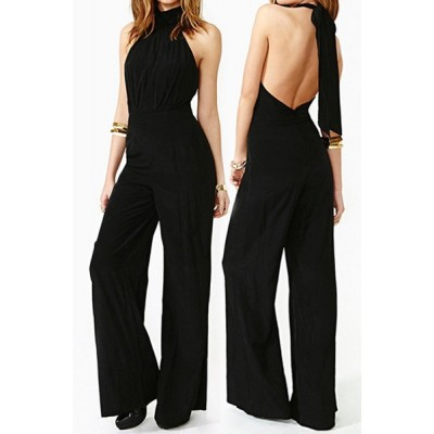 Stylish Halter Sleeveless Solid Color Lace-Up Backless Jumpsuit For Women black