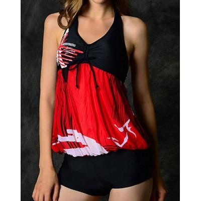 Stylish Halter Spliced Printed One-Piece Swimwear For Women blue red yellow