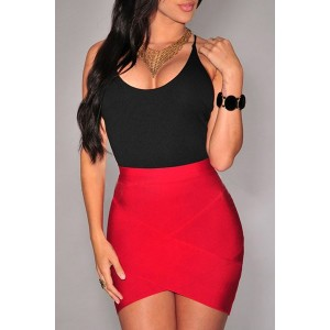Stylish High-Waisted Bodycon Asymmetrical Skirt For Women black red