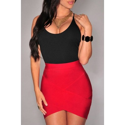 Stylish High-Waisted Bodycon Asymmetrical Skirt For Women black red
