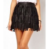 Stylish High-Waisted Fringe Embellished Solid Color Skirt For Women black
