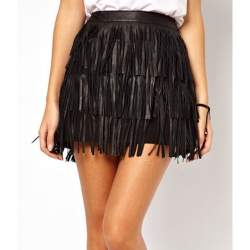 Stylish High-Waisted Fringe Embellished Solid Color Skirt For ...