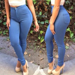 Stylish High-Waisted Pocket Design Slimming Pants For Women light blue