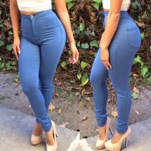 Stylish High-Waisted Pocket Design Slimming Pants For Women light blue