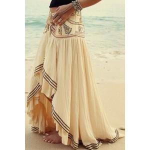 Stylish High-Waisted Printed Asymmetrical Skirt For Women white