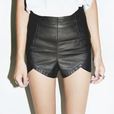 Stylish High-Waisted Zippered Asymmetrical Faux Leather Shorts For Women black