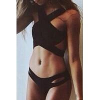 Stylish Hollow Out Black Bikini Set For Women black