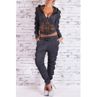 Stylish Hooded Long Sleeve Leopard Spliced Hoodie + Drawstring Pants Twinset For Women gray